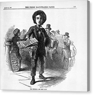The Newsboy Canvas Print by British Library