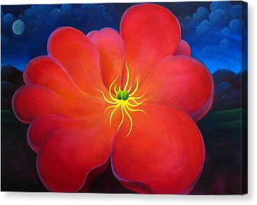 Canvas Print featuring the painting The Night Flower by Richard Dennis