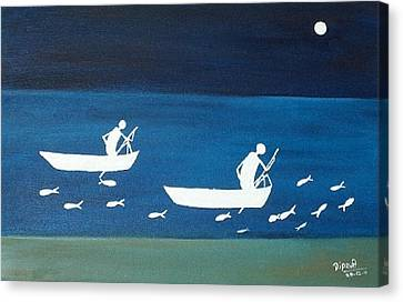 The Night In Warali Village Canvas Print by Dipali Deshpande