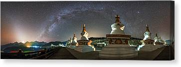 Tibetan Buddhism Canvas Print - The Night Sky Over A Buddhist Shrine by Jeff Dai