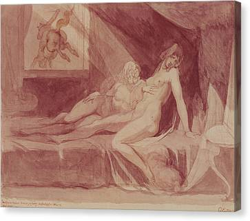 The Nightmare Leaving Two Sleeping Women, 1810 Graphite & Wc On Paper Canvas Print