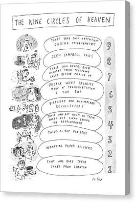 The Heavens Canvas Print - The Nine Circles Of Heaven by Roz Chast