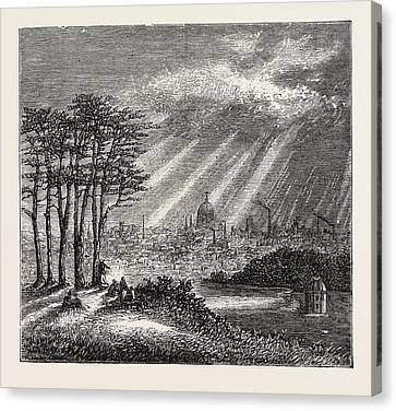 The North Of London, The Heath, Hampstead, Engraving 1876 Canvas Print