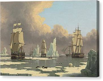The Northern Whale Fishery   The Swan And Isabella Canvas Print by John Ward of Hull