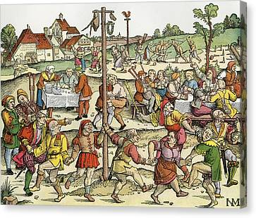The Nose Dance, After A 16th Century Woodcut By Nikolaus Meldemann.  A Rural German Dance Festival Canvas Print by Bridgeman Images