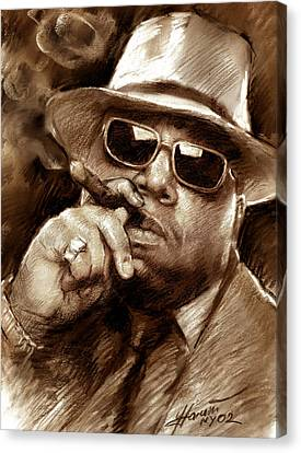 Canvas Print featuring the drawing The Notorious B.i.g. by Viola El