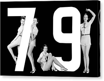 Full Skirt Canvas Print - The Number 79 And Four Women by Underwood Archives