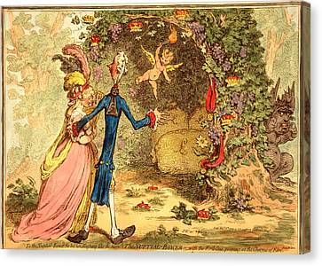 The Nuptial Bower, With The Evil One, Peeping At The Charms Canvas Print