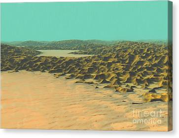 Canvas Print featuring the painting The Ocean Is A Desert by Pet Serrano