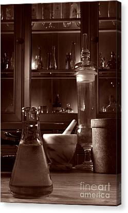 Flask Canvas Print - The Old Apothecary Shop by Olivier Le Queinec