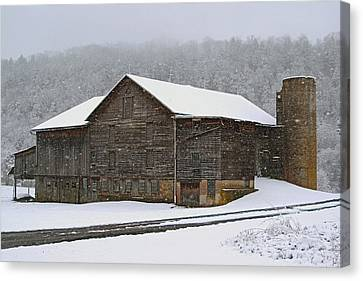 Canvas Print featuring the photograph The Old Barn     Faded But Sturdy by Gene Walls