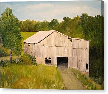 Canvas Print featuring the painting The Old Barn by Alan Lakin