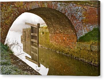 Canvas Print featuring the photograph The Old Bridge And Lock Gates by Trevor Chriss