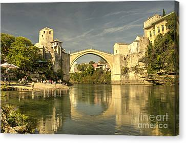 The Old Bridge At Mostar Canvas Print by Rob Hawkins