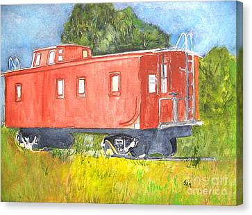 The Old Caboose Canvas Print by Sandy McIntire