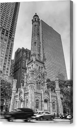 The Old Chicago Water Tower Bw Canvas Print
