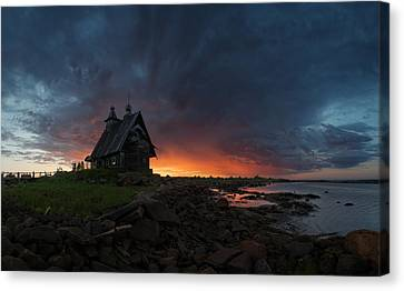 The Old Church On The Coast Of White Sea Canvas Print by Sergey Ershov