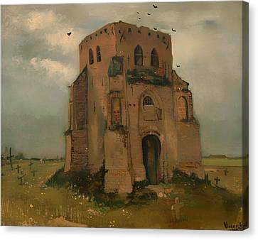 Headstones Canvas Print - The Old Church Tower At Neunen by Mountain Dreams