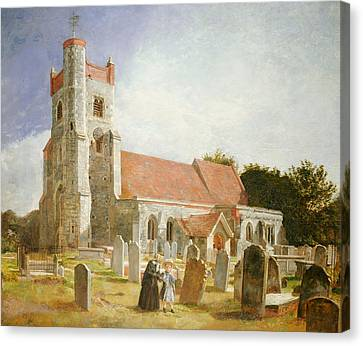 Graveyard Canvas Print - The Old Church by William Holman Hunt