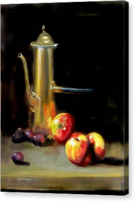 Canvas Print featuring the painting The Old Coffee Pot by Barry Williamson