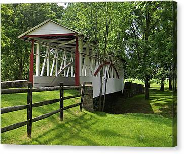 Canvas Print featuring the photograph The Old Covered Bridge by Jean Goodwin Brooks