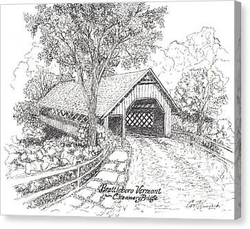 The Old Creamery Bridge Brattleboro Vt Pen Ink Canvas Print by Carol Wisniewski