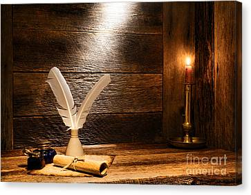 Wood Burning Canvas Print - The Old Desk by Olivier Le Queinec