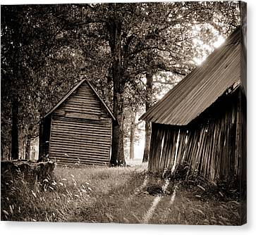 Canvas Print featuring the photograph The Old Farm At Sunrise by Amber Kresge