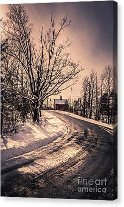 Winter Roads Canvas Print - The Old Farm Down The Road by Edward Fielding