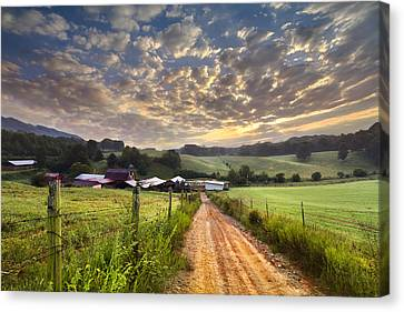 The Old Farm Lane Canvas Print by Debra and Dave Vanderlaan