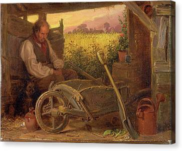 Briton Riviere Canvas Print - The Old Gardener Signed And Dated, Lower Right Br 1863 by Litz Collection