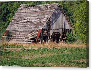 Canvas Print featuring the photograph The Old Gray Barn by Nick Kirby