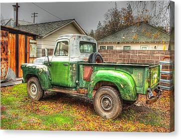 Canvas Print featuring the photograph The Old Green Truck by Jim Thompson