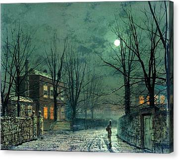 The Old Hall Under Moonlight Canvas Print by John Atkinson Grimshaw
