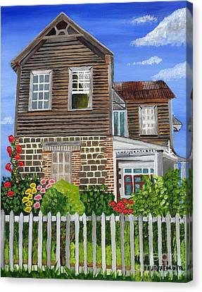 Canvas Print featuring the painting The Old House by Laura Forde