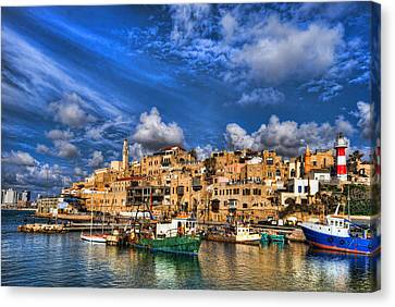 Canvas Print featuring the photograph the old Jaffa port by Ron Shoshani