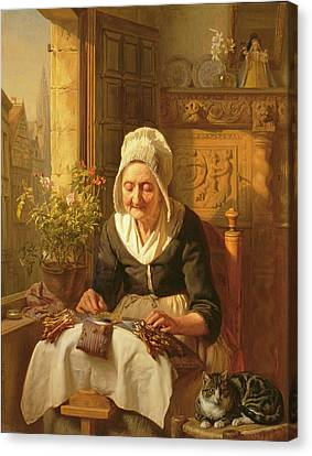The Old Lacemaker Canvas Print by JL Dyckmans