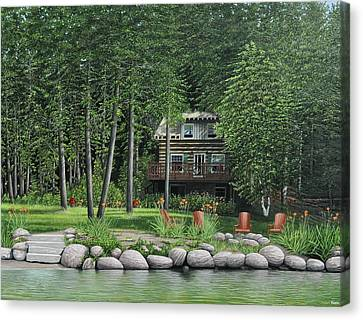 The Old Lawg Caybun On Lake Joe Canvas Print by Kenneth M  Kirsch