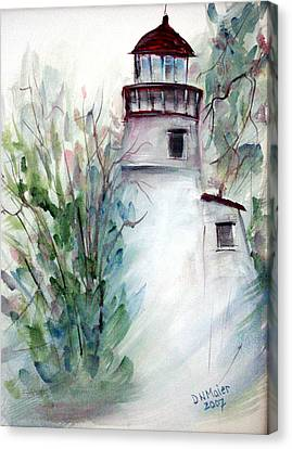 Canvas Print featuring the painting The Old Lighthouse by Dorothy Maier