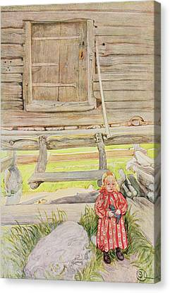 Log Cabin Canvas Print - The Old Lodge, From A Commercially by Carl Larsson