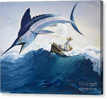 Fish Canvas Print - The Old Man And The Sea by Harry G Seabright