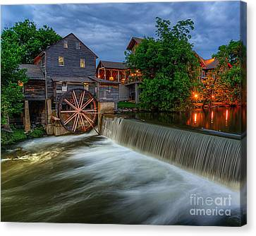 The Old Mill At Twilight Canvas Print by Anthony Heflin