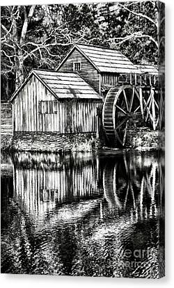 Grist Mill Canvas Print - The Old Mill Black And White by Darren Fisher