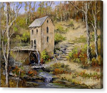 The Old Mill In Late Fall Canvas Print by Virginia Potter