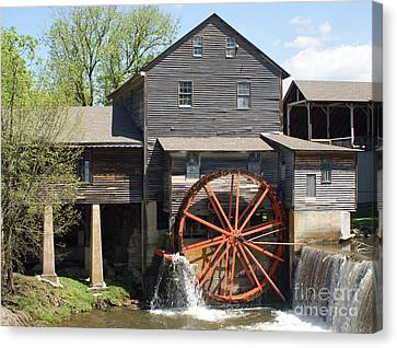 The Old Mill In Pigeon Forge Canvas Print by Roger Potts