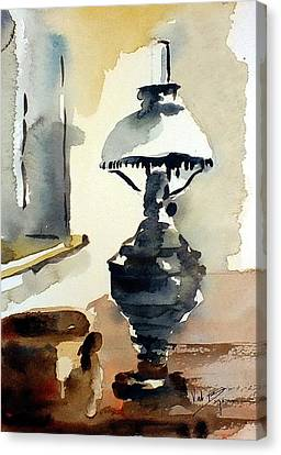 The Old Oil Lamp Canvas Print by Val Byrne