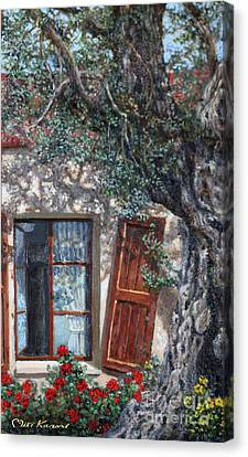 The Old Olive Tree And The Old House Canvas Print by Miki Karni