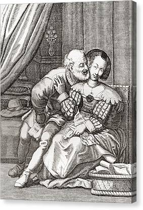 The Old Prurient, After A 16th Century French Engraving By Jaspar Isaac.   From Illustrierte Canvas Print by Bridgeman Images