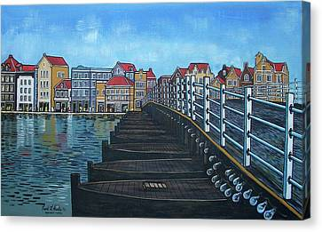 The Old Queen Emma Bridge In Curacao Canvas Print