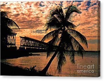 The Old Rail Road Bridge In The Florida Keys Canvas Print by Susanne Van Hulst